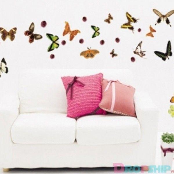 Виниловая наклейка - Набор различных бабочек