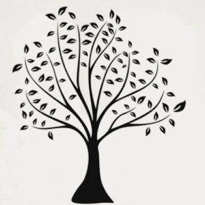 РАСПРОДАЖА! Виниловая наклейка - Черно-белое дерево с листьями - Интерьер, декор