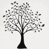 SALE! Vinyl decal - Black-and-white tree with leaves