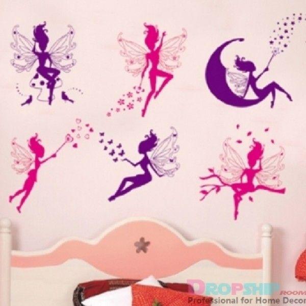 Виниловая наклейка - Фиолетовые и розовые феи