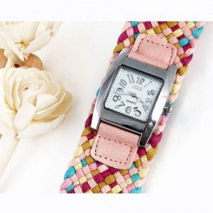 Colorful watch with braided strap
