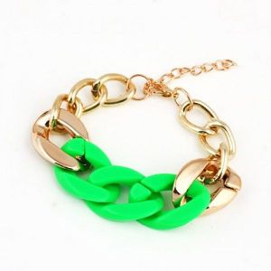 Golden bracelet with colorful woven