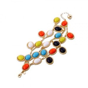 Striking bracelet with colored stones