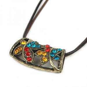 Necklace with a striking pendant made of rhinestone