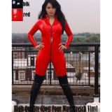 Vinyl jumpsuit with zipper front