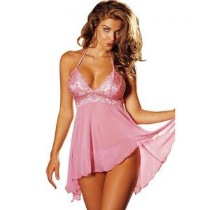 Negligee with lace pink