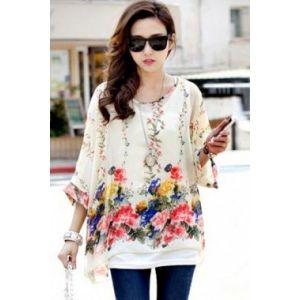 Элегантная просторная шифоновая блуза с цветами - Кофты, блузы