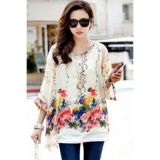 Spacious, elegant chiffon blouse with flowers