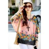 Womens Bat Sleeve Chiffon Blouse Top