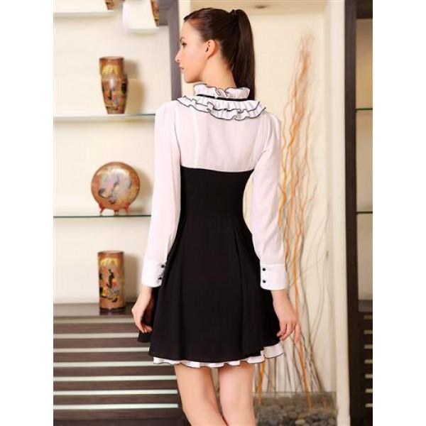 Elegant black and white dress. Артикул: IXI36440