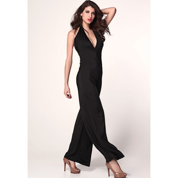 Black jumpsuit with a deep V-neck. Артикул: IXI36545