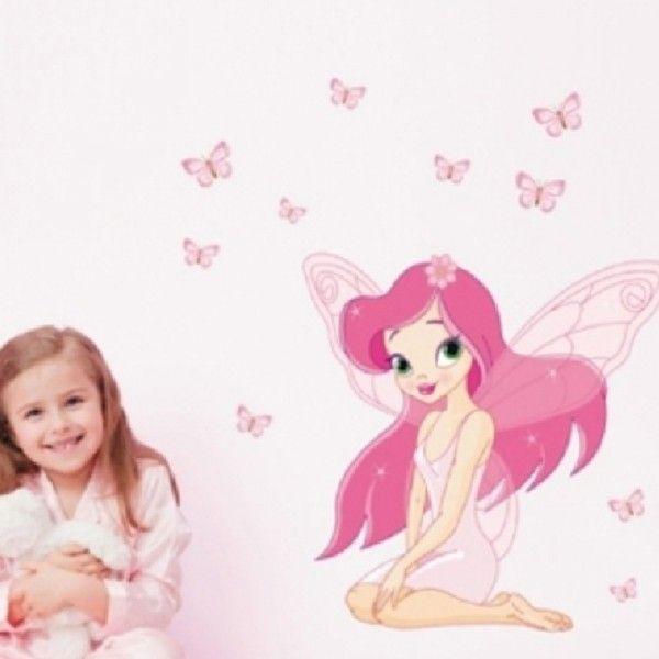 Виниловая наклейка - Фея с розовыми бабочками