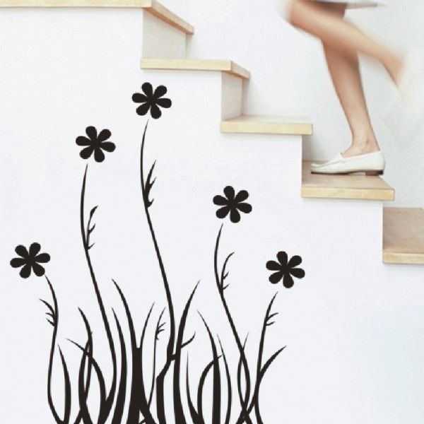 Виниловая наклейка - Черные травинки с цветочками