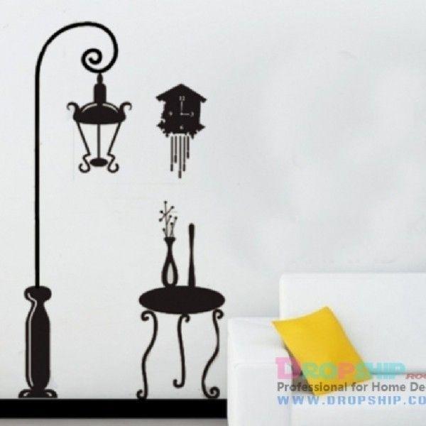 Виниловая наклейка - Абстракция (фонарь, часы и стол)
