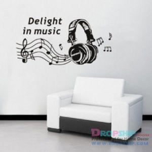 РАСПРОДАЖА! Виниловая наклейка - Delight in music - Интерьер, декор