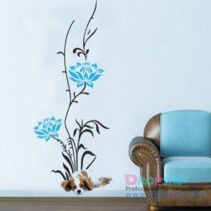 РАСПРОДАЖА! Виниловая наклейка - Абстракция, голубые листики - Интерьер, декор