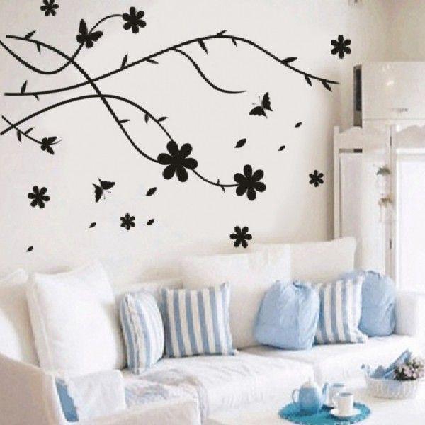 Виниловая наклейка - Абстракция, листья, бабочки