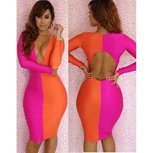 Two-tone dress in pink / orange colors