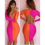 Двухцветное платье розово-оранжевой расцветки