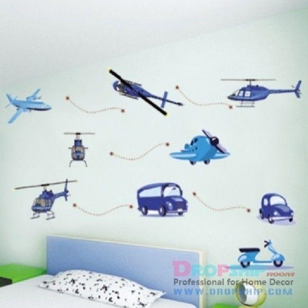 Виниловая наклейка - Детская техника: самолеты, вертолеты