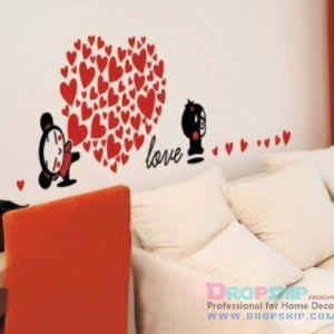 РАСПРОДАЖА! Виниловая наклейка - Love, сердце из сердечек - Интерьер, декор