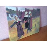 SALE! Canvas on stretcher Breton girls dancing Paul Gauguin