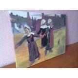 SALE! Canvas on stretcher Breton girls dancing Paul Gauguin