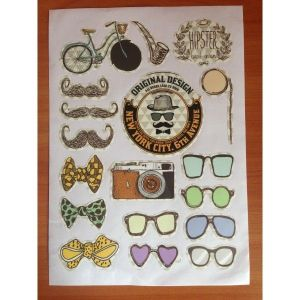 SALE! The lights, set of stickers, Glasses, moustache