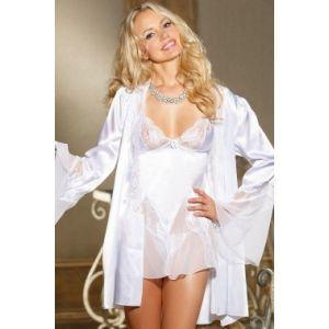 Белый сатиновый халатик - Халаты, пижамы