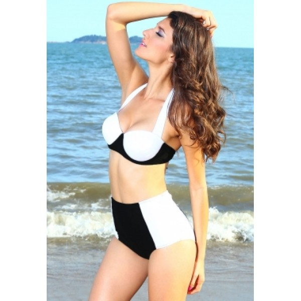 Black and white swimsuit with high waist. Артикул: IXI39048