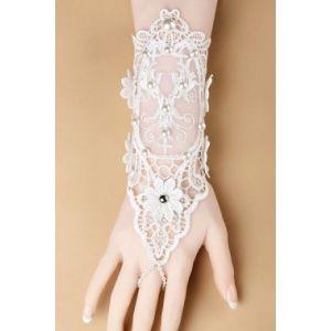 Белые свадебные кружевные перчатки - Перчатки