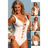 White Sexy Plunge Crisscross Teddy Bikini with Scoop Back
