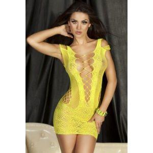 Кружевное яркое мини-платье сетка желтого цвета