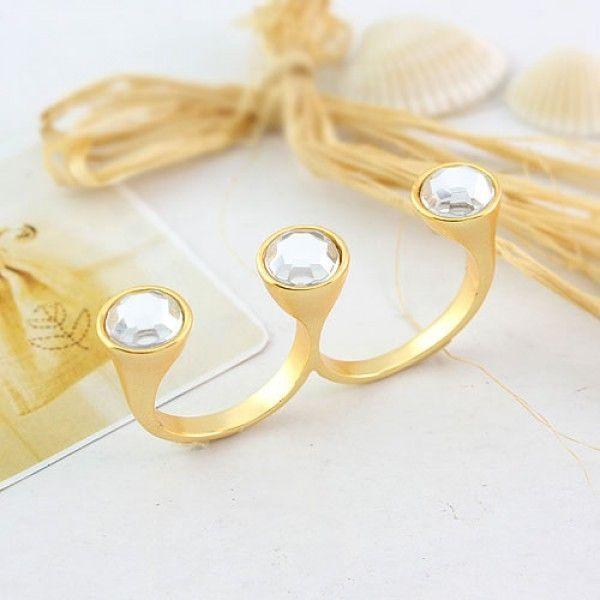 Купить онлайн Двойное кольцо с камнем фото цена акция распродажа