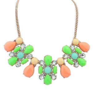 Multi-colored necklace with stones
