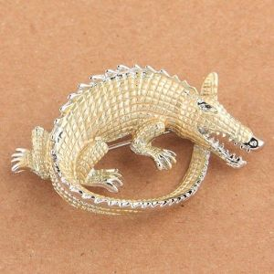 Brooch - Gold crocodile
