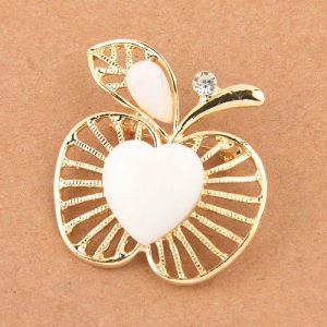 Brooch - White Apple