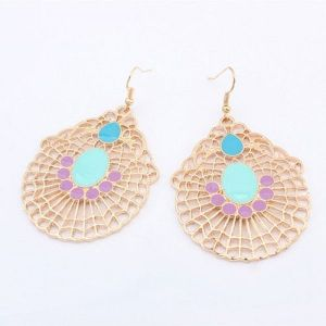 Elegant Golden earrings with blue stones