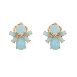 Earrings - Blue rose