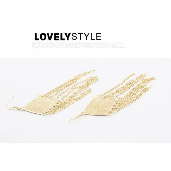 Golden earrings with chains. Артикул: IXI40038