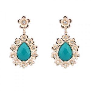 Earrings with flowers and stone. Артикул: IXI40053
