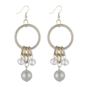 Evening earrings with mother of pearl