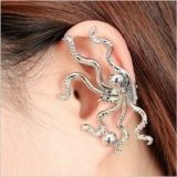 Silver earring with octopus