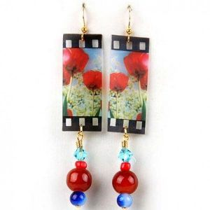 Original earrings with poppies