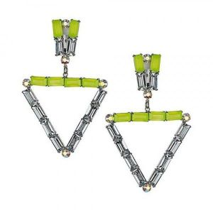 Triangular earrings with rhinestones