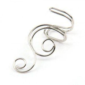 Silver-tone ear clips in punk style