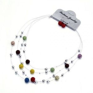 Set of necklace and earrings multi-colored