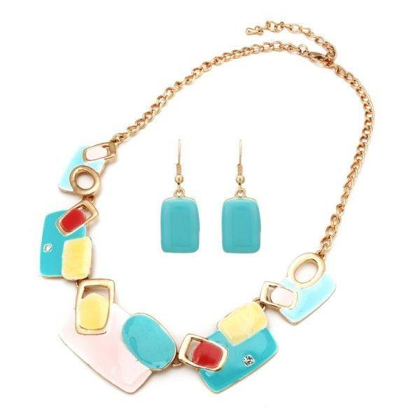 РАСПРОДАЖА! Ожерелье и серьги с разноцветными камнями