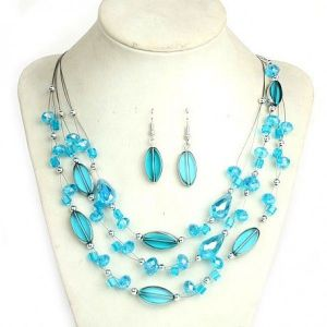 Set with blue stones