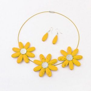 Set of necklace and earrings - Sunflowers